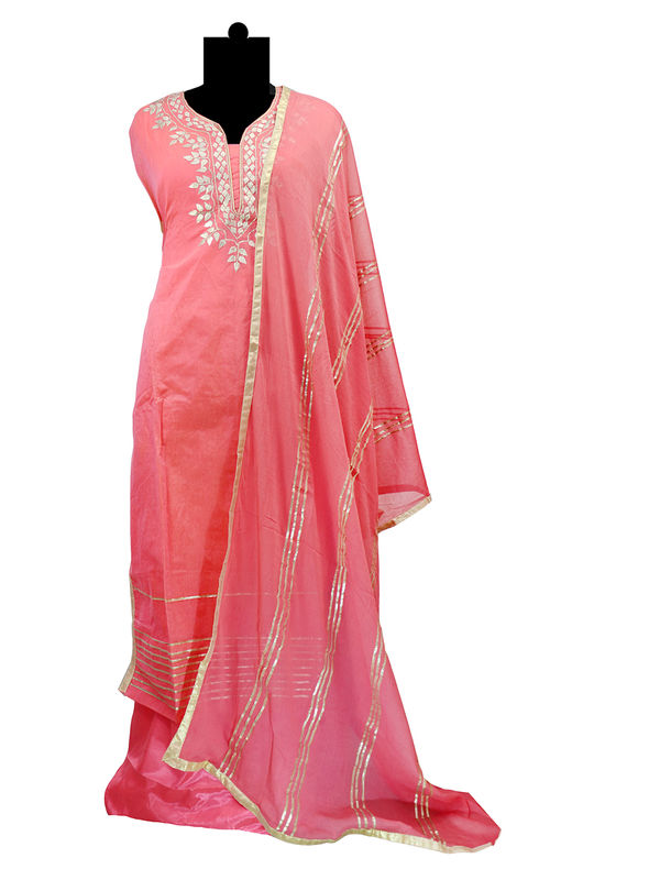 Semi-Stitched Chanderi Silk Gotta Work Light Magenta Color Suit With Pure Chiffon Gotta Work Dupatta