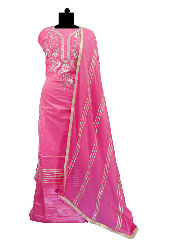 Semi-Stitched Chanderi Silk Gotta Work Magenta Color Suit With Pur Chiffon Gotta Work Dupatta