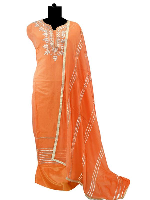 Semi-Stitched Chanderi Silk Gotta Work Orange Color Suit With Pur Chiffon Gotta Work Dupatta