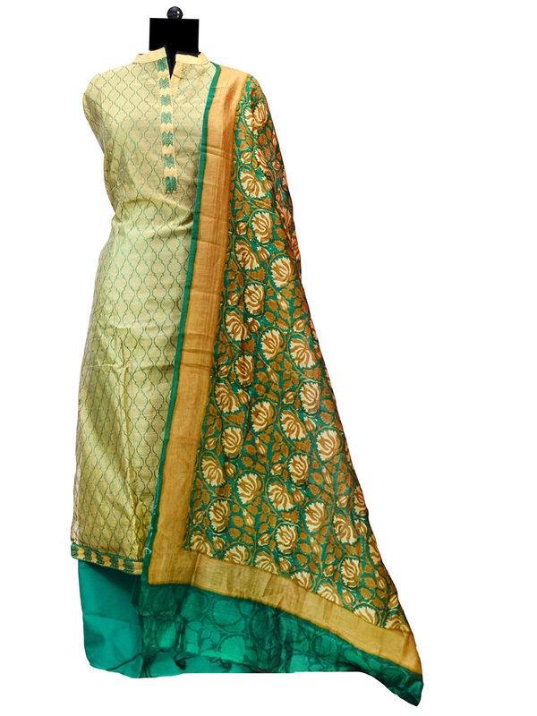 Semi-Stitched Chanderi Silk Green Embroidered Suit With Kalamkari Formal Dupatta