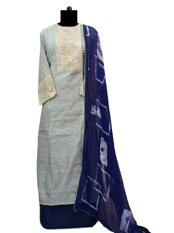 Semi-Stitched Khadi Silk Grey Color Embroidered Suit With Pure Chiffon Dupatta