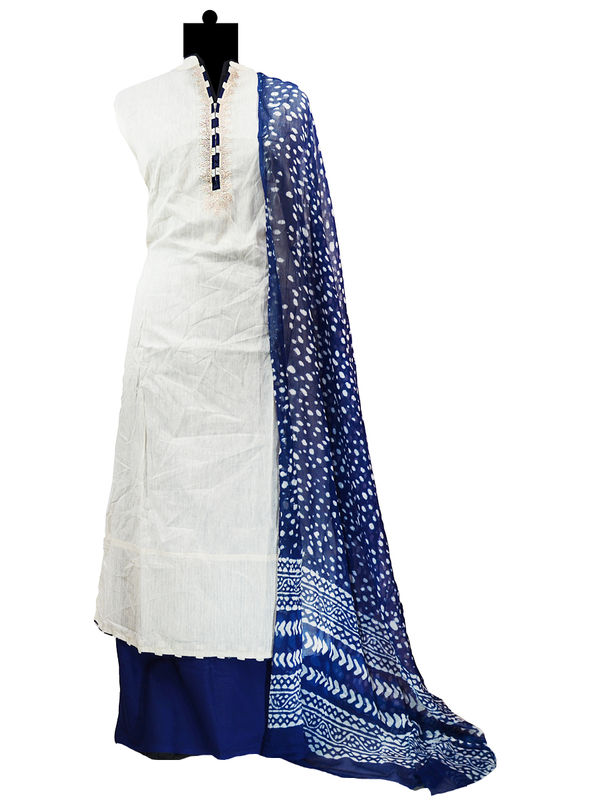 Semi-Stitched Khadi Silk Off White Blue Color Embroidered Suit With Pure Chiffon Dupatta