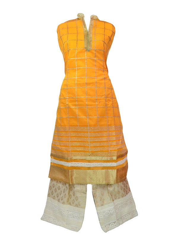Semi Stitched Orange Golden Chanderi Silk Suit With Cotton Silk Chikenkari Palazzo