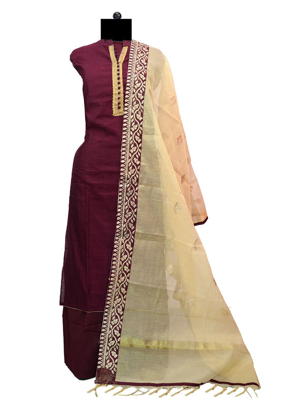 Semi-Stitched Purple Color Self Embroidered Silk Suit With Silk Kota Embroidered Formal Dupatta