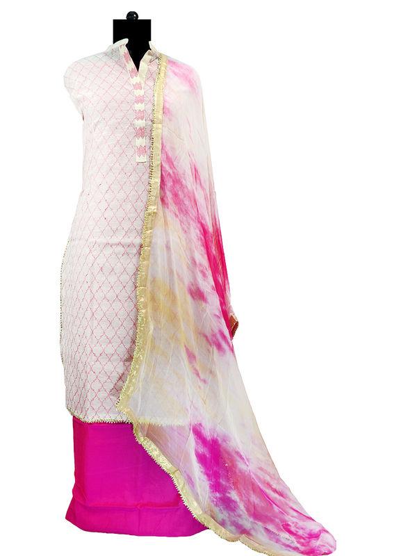 Semi-Stitched Silk Beige Color Magenta Embroidered Suit With Gotta Bordered Pure Chiffon Dupatta