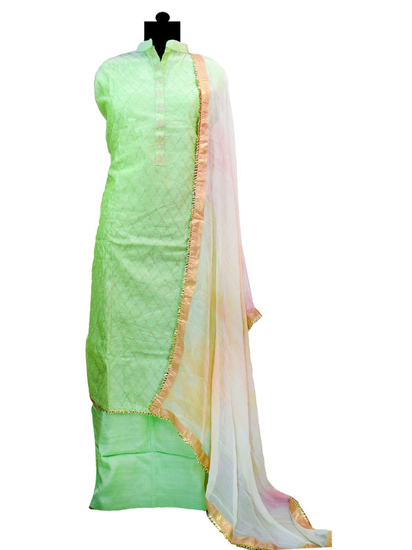 Semi-Stitched Silk Green Color Embroidered Suit With Gotta Bordered Pure Chiffon Dupatta