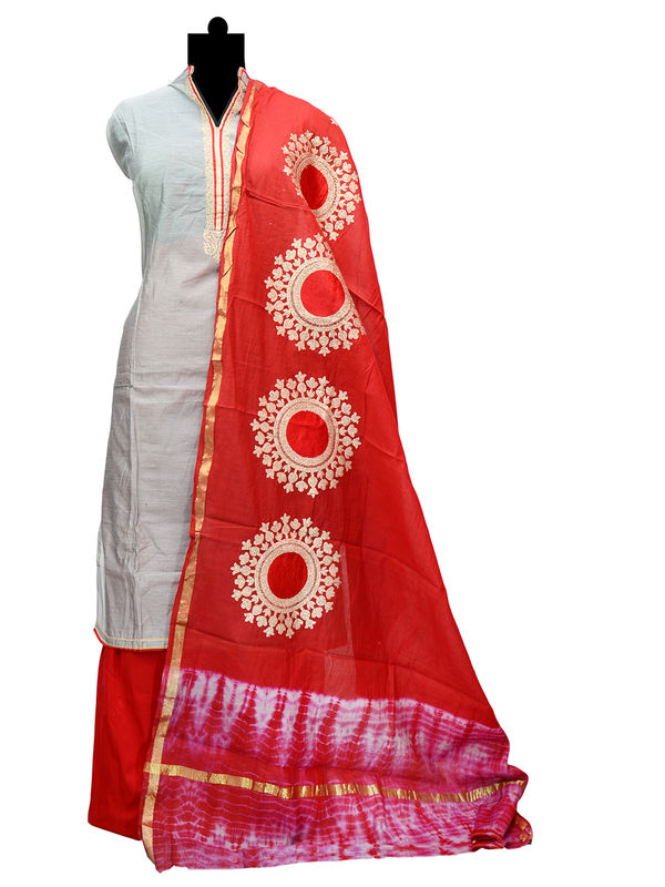 Semi-Stitched Silk Grey Red Color Embroidered Suit With Heavy Embroidered Chiffon Dupatta