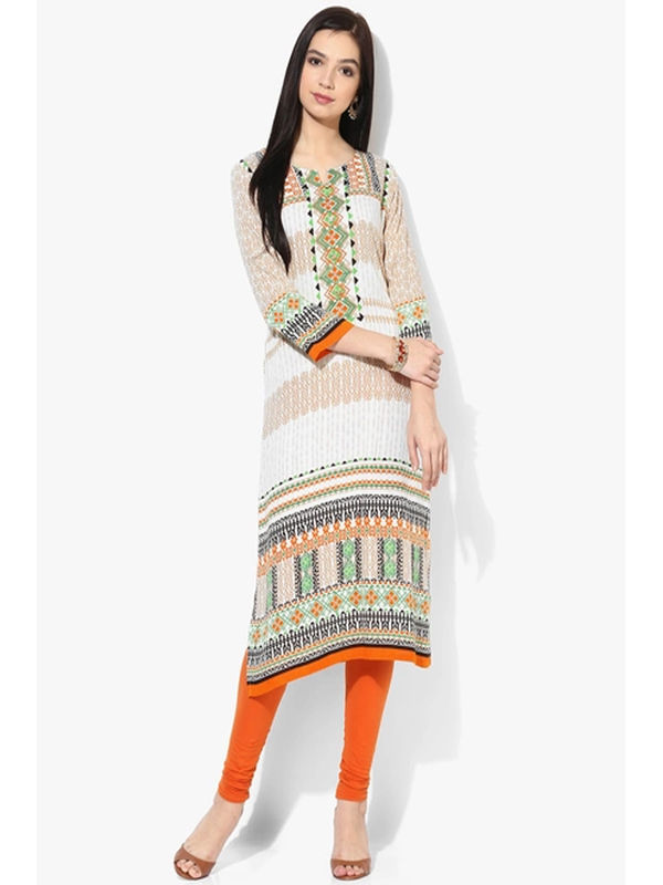 Shree Beige Printed kurta With Buttons