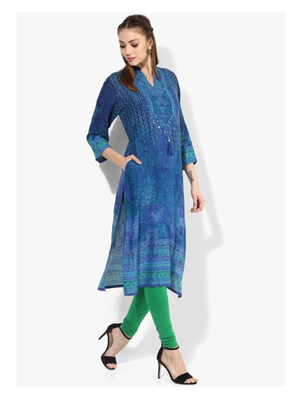 Shree Blue Embellished Rayon Kurta