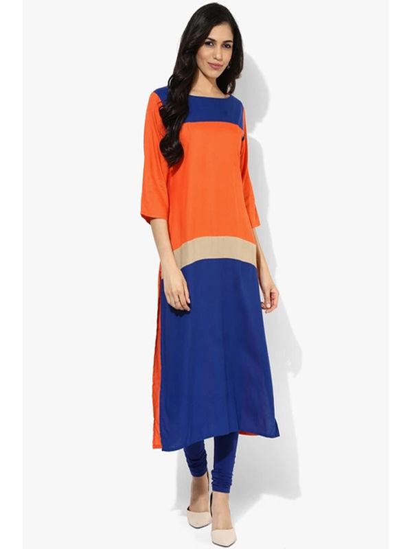 Shree Orange Blue Solid Rayon Kurta