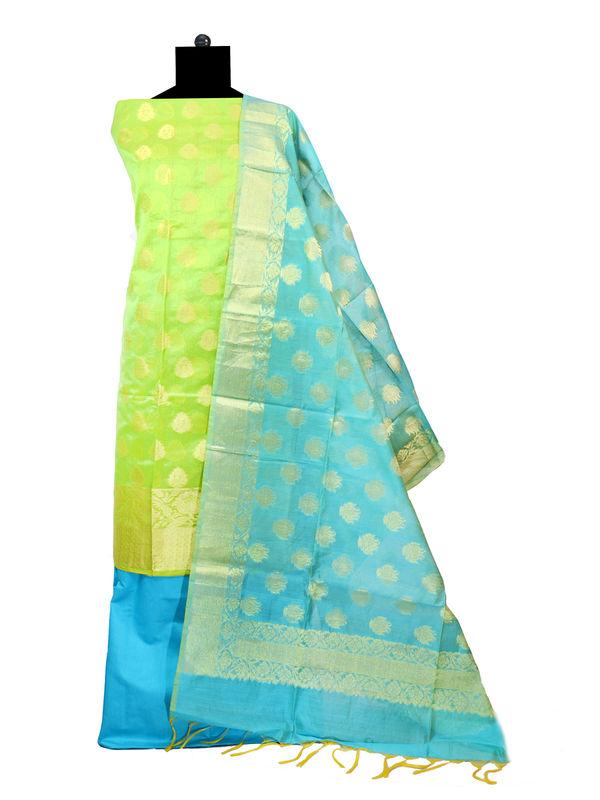 Unstitched Gree Blue Banarsi Suit With Banarsi Dupatta