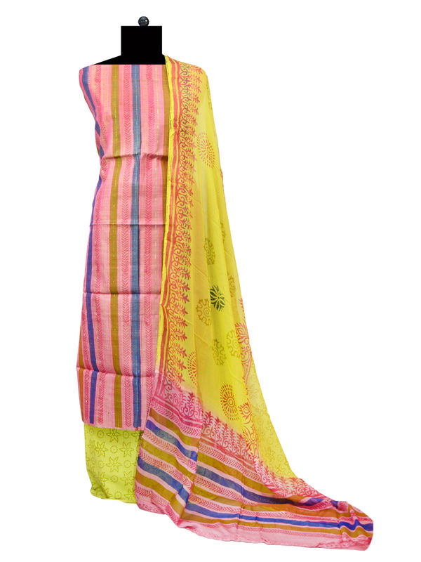 Unstitched Multi Color Khadi Silk Suit With Pure Chiffon Dupatta