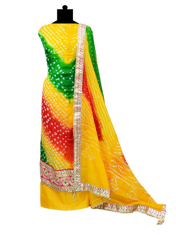 Unstitched Silk Yellow Bandhni Gotta Suit With Silk Bandhni Gotta Dupatta