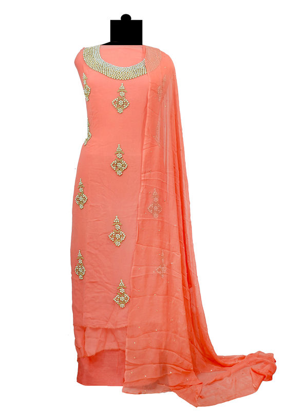 Untitched Peach Color Pure Georgette Hand Embroidered Suit With Pure Chiffon Dupatta