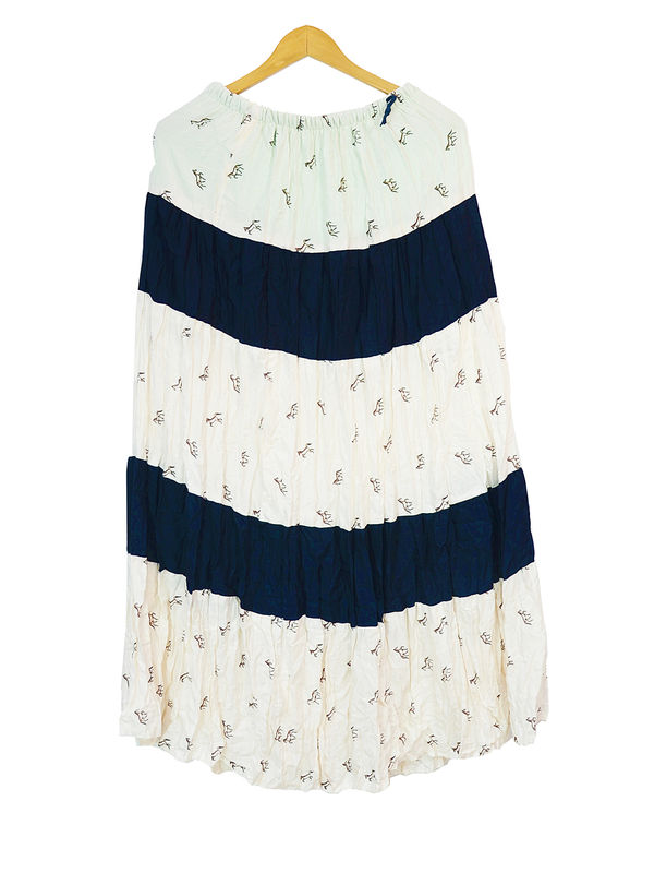 White Black Printed Cotton Long Skirt