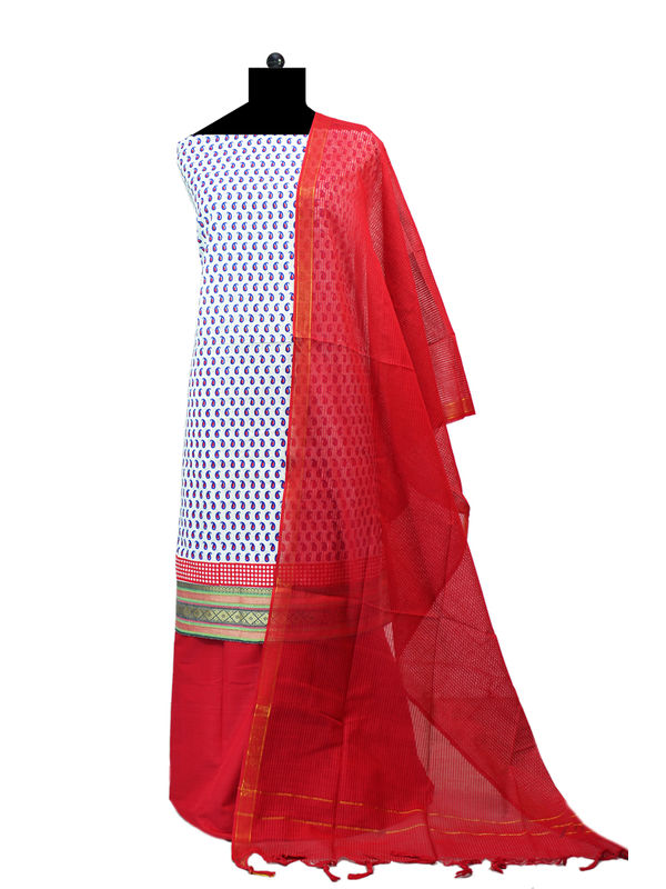 White Red South Cotton Printed Suit With Cotton Dupatta