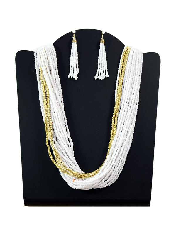 White Tribal Pearl Immitation Necklace With Earrings