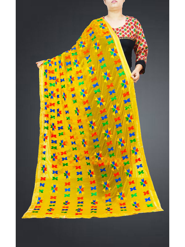 Yellow Multi Embroidered Phulkari Dupatta