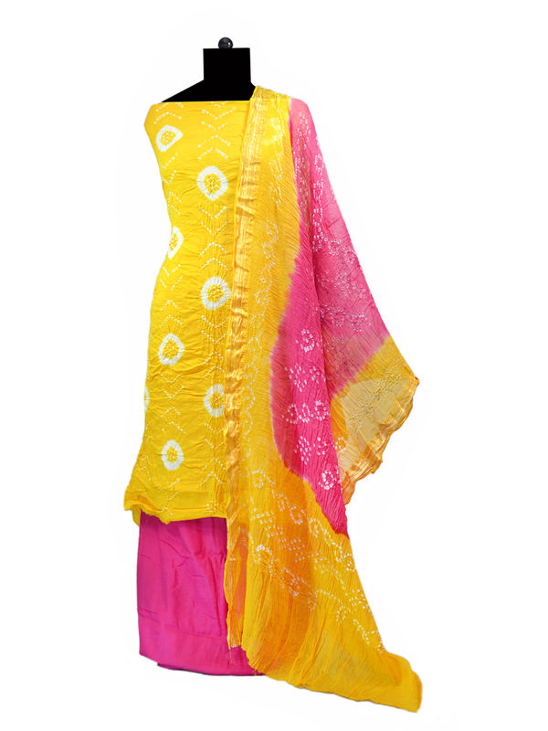Yellow Pink Bandhej Printed Cotton Suit With Bandhej Dupatta