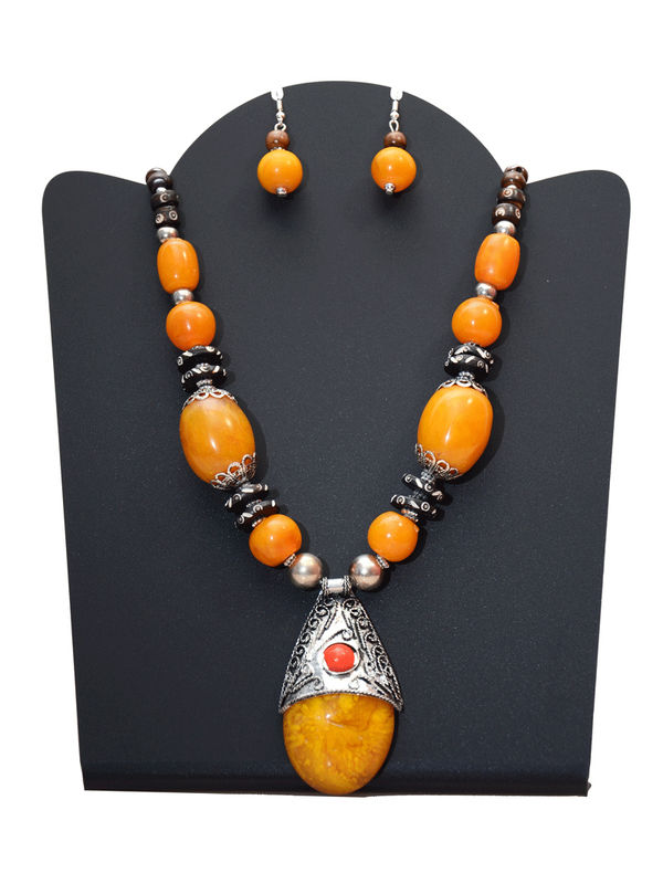 Yellow Stone Handmade Tribal Necklace With Earrings