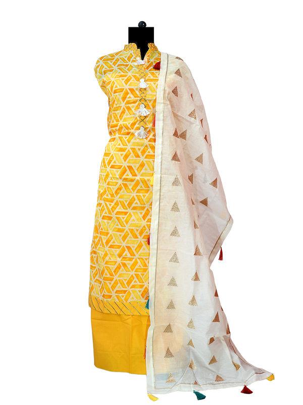 Yellow White Cotton Suit With Cotton White Zari Work Stole