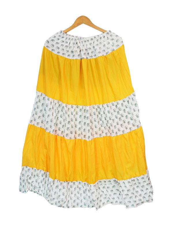 Yellow White Printed Cotton Long Skirt