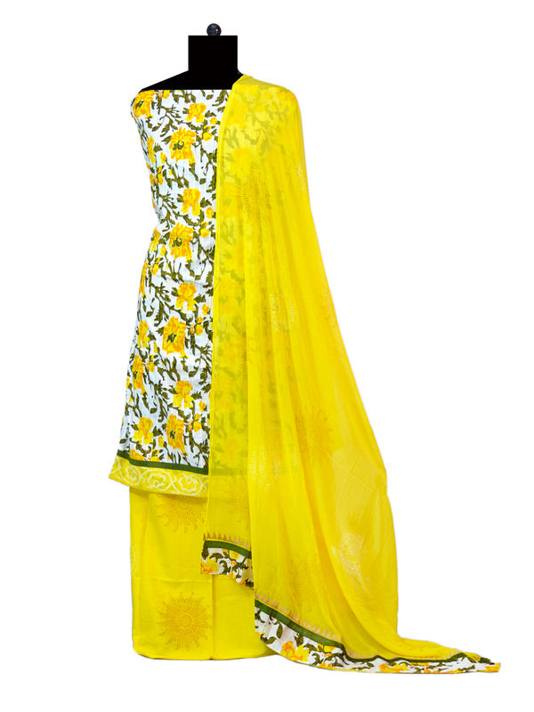 Yellow White Printed Cotton Suit With Dupatta