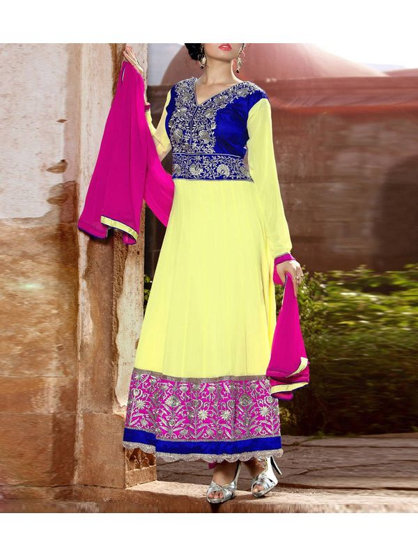 Lemon Yellow Blue and Pink Embroidered Georgette Anarkali Suit