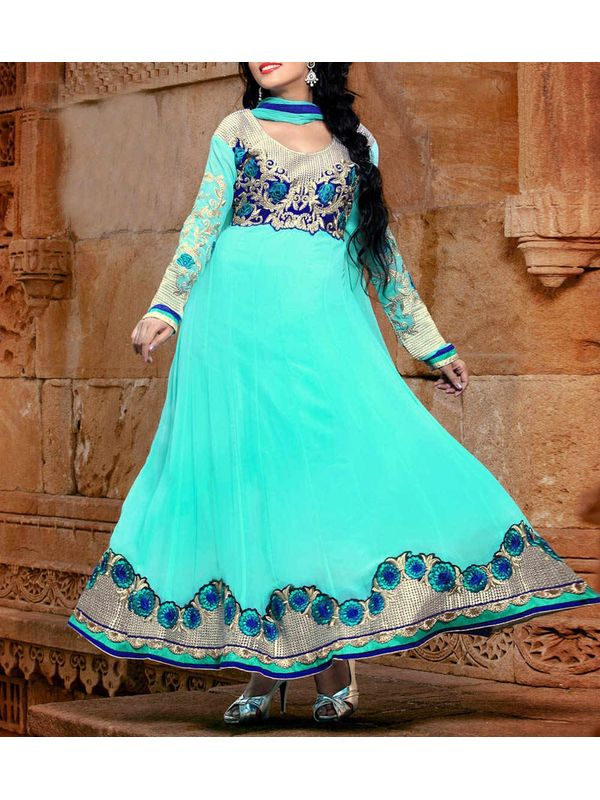 Cyan Embroidered Georgette Anarkali Suit