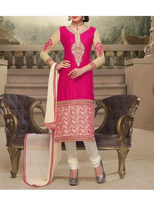 Dark Pink Embroidered Georgette Semi Stitched Churidar Suit