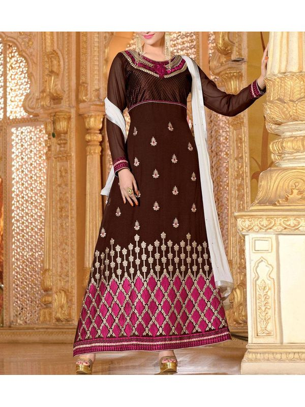 Graceful Brown Embroidered Georgette Anarkali Suit