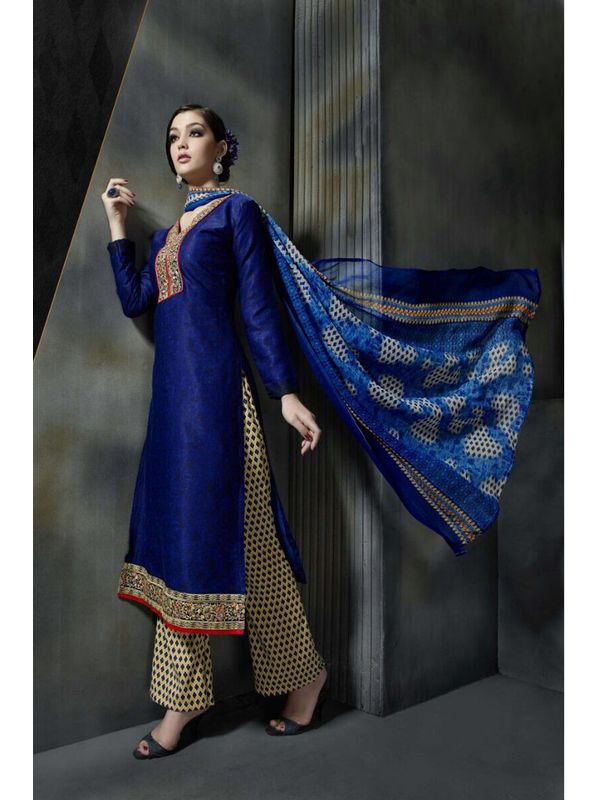 Pashmina Blue Color Printed Suit With Pure Chiffon Dupatta