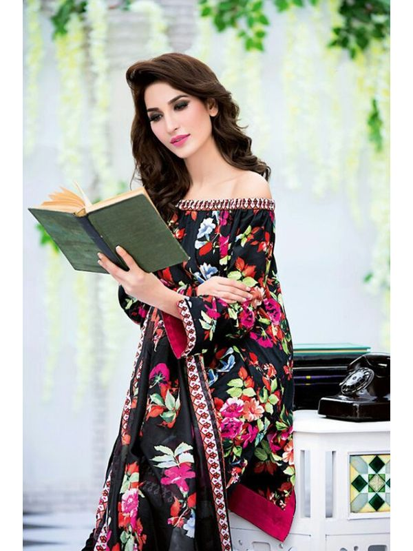 Pakistani Un-stitched Black Pure Cotton Lawn Suit