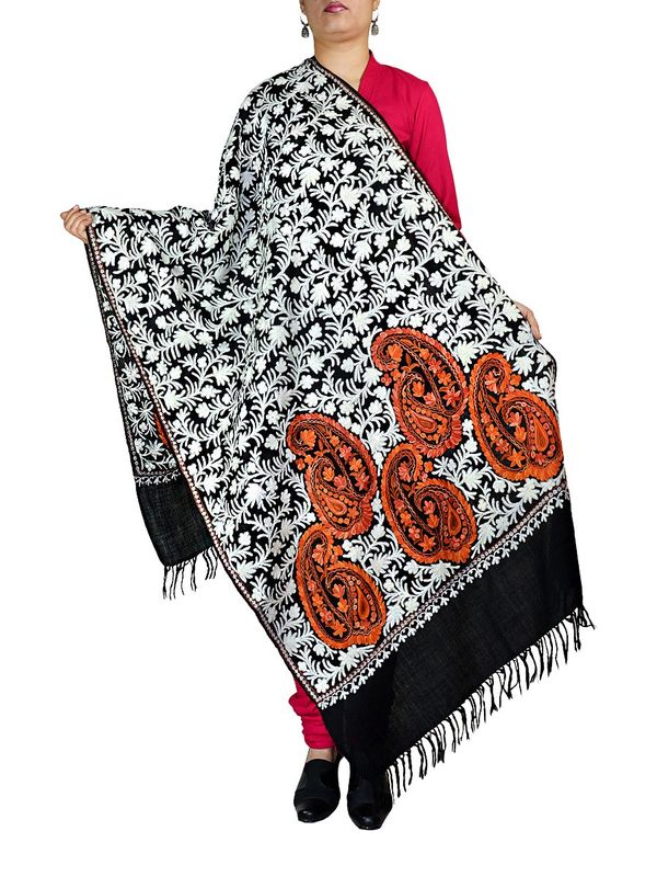 Black Kashmiri Tilla Work and Aari Work Pashmina Shawl