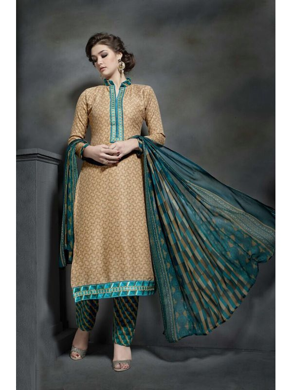 Pashmina Beige Color Printed Suit With Pure Chiffon Dupatta