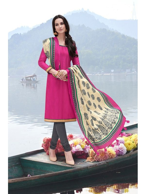 Magenta Bhagalpuri Silk Un Stitched Suit With Dupatta