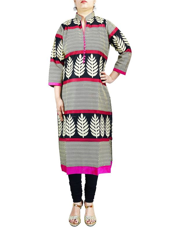 Beige Multi-Color Printed Cotton Kurti
