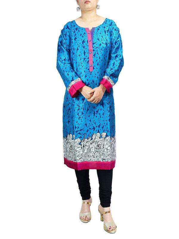 Blue Tribal Printed Cotton Kurti