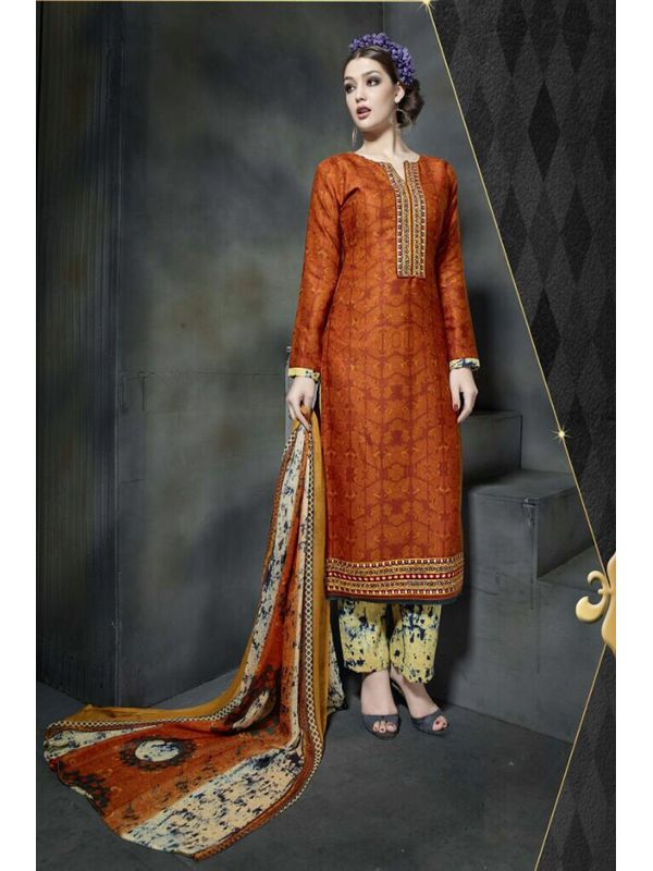 Pashmina Light Rust Color Printed Suit With Pure Chiffon Dupatta