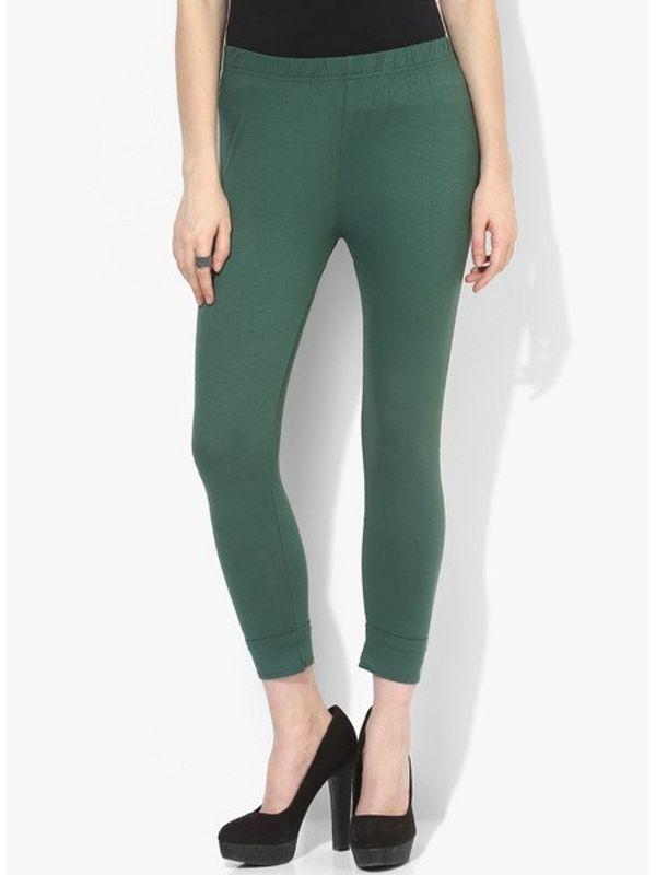 Dark Green Cotton Slim Fit Legging