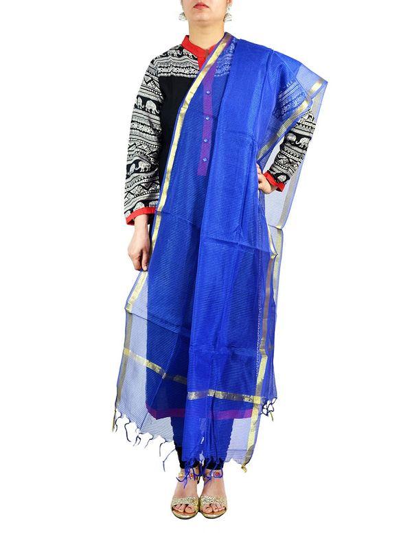 Blue Chanderi Silk Dupatta