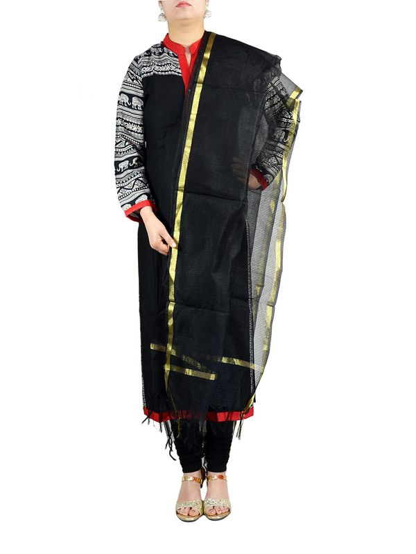 Black Chanderi Silk Dupatta