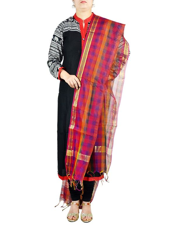 Check Multi-Color Chanderi Silk Dupatta