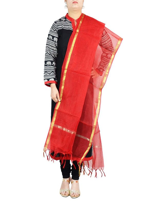 Orange Chanderi Silk Dupatta