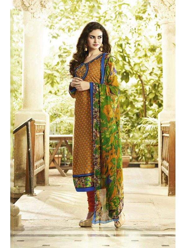 EMBROIDERED PASHMINA SUIT WITH PURE DUPATTA