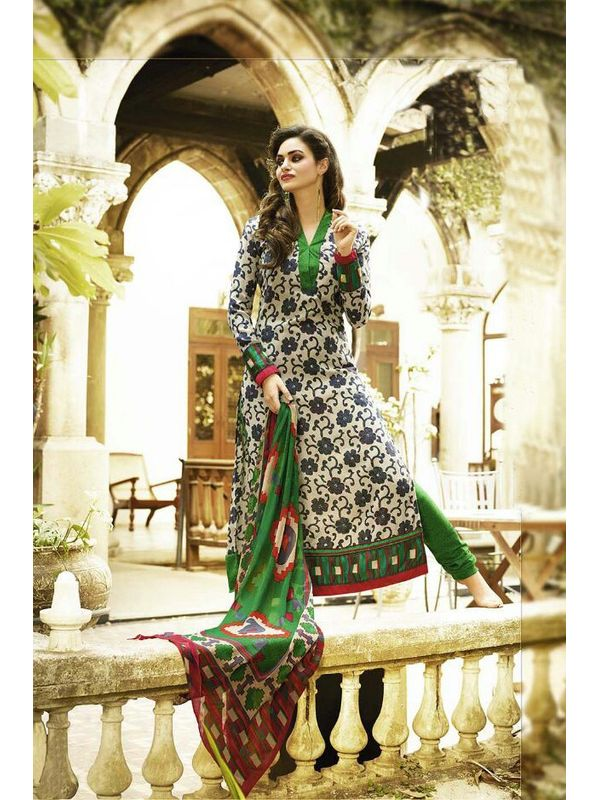 EMBROIDERED OFF WHITE AND GREEN PASHMINA SUIT WITH PURE DUPATTA