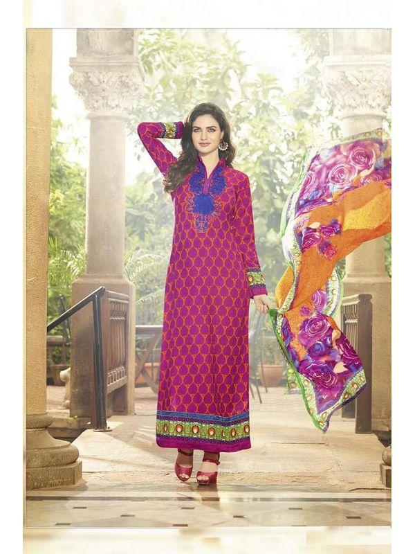 Embroidered Magenta Pashmina Suit With Pure Dupatta