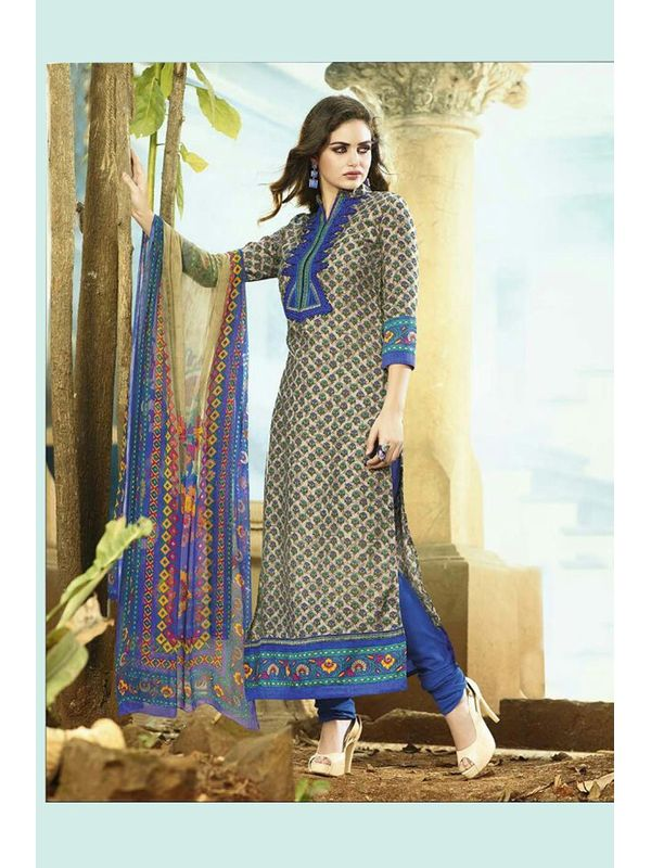 Embroidered Off White Blue Pashmina Suit With Pure Dupatta