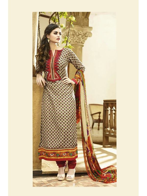 Embroidered Off White Red Pashmina Suit With Pure Dupatta