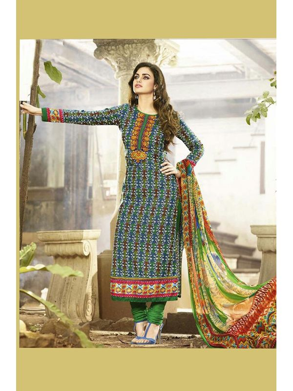 Embroidered Green Pashmina Suit With Pure Dupatta